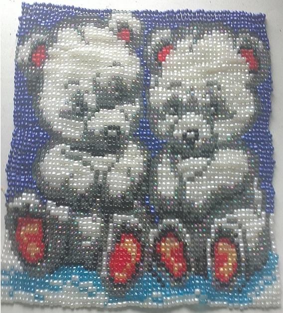 Схема вышивания бисером - Медвежата