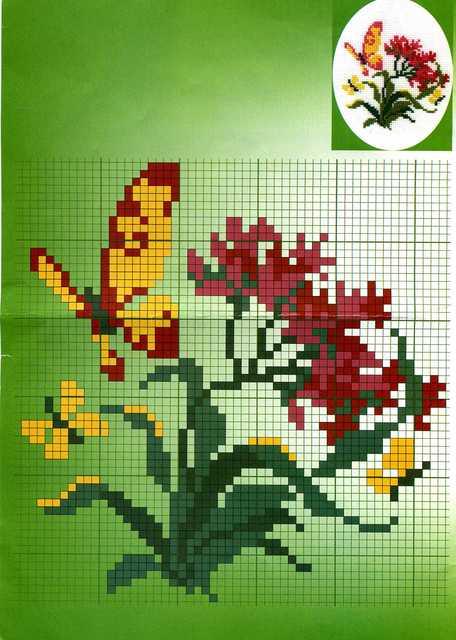 Схема вышивки крестом - бабочка