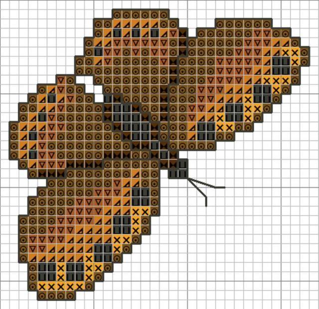 Схема вышивания крестом - Бабочка