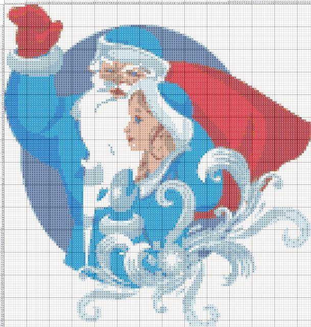 Схема вышивания крестом - Дед Мороз и Снегурочка
