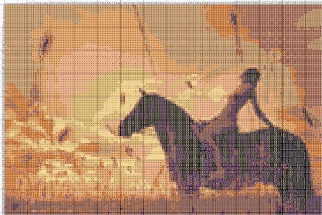 Схема вышивания крестом - Девушка на лошади