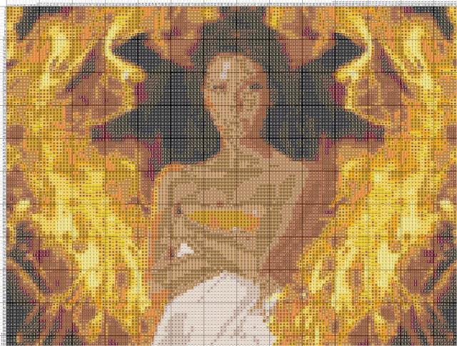 Схема вышивания крестом - Ева Лонгория в огне