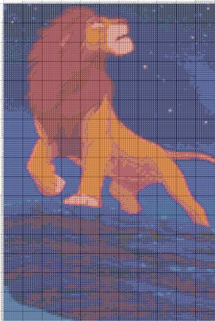 Схема вышивания крестом - Король Лев