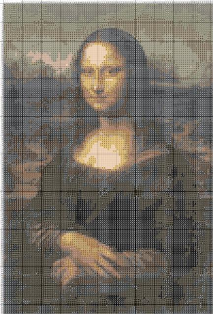 Схема вышивания крестом - Мона Лиза