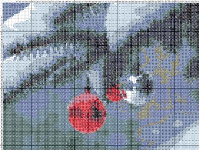 Схема вышивания крестом - Новогодние шарики