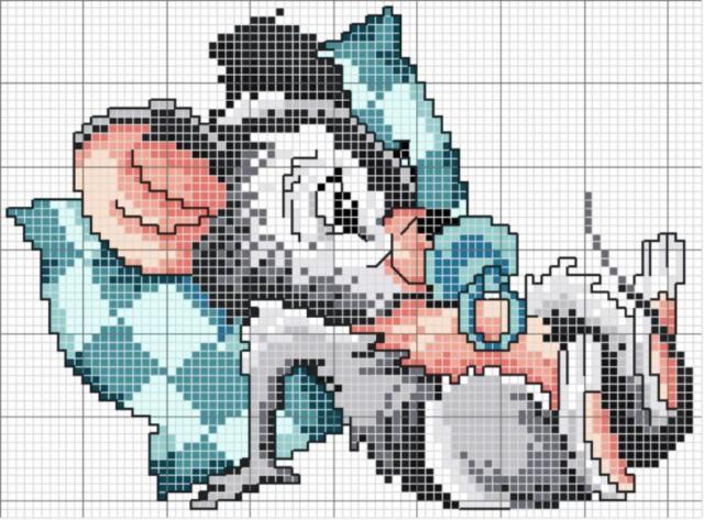 Схема вышивания крестом - Мышка
