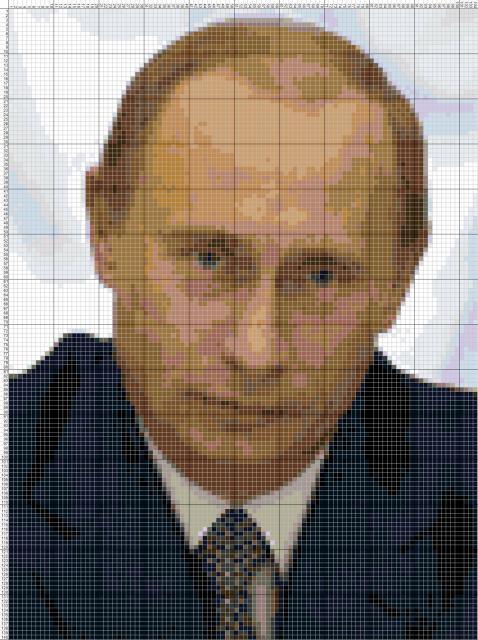 Схема вышивания крестом - президент Путин