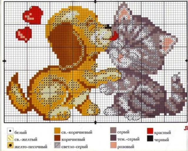 Схема вышивания крестом - Кот и пес