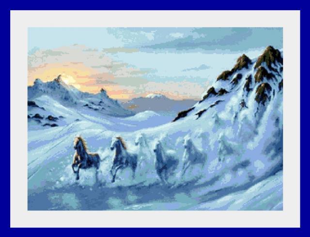 Схема вышивания крестом - Снежные кони
