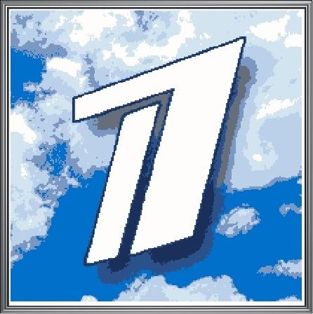 """Схема вышивания крестом - Логотип """"1 Канал"""""""