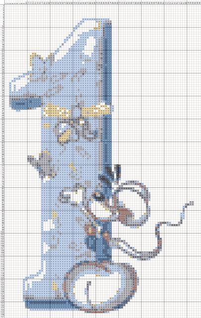 Схема вышивания крестом - Цифра Один