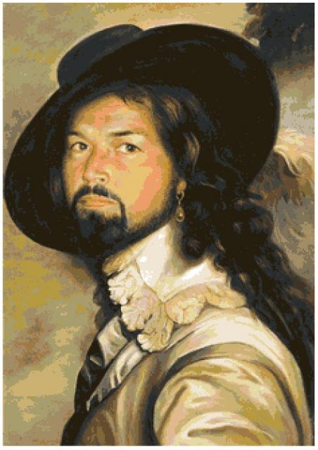 Схема вышивания крестом - Никас Сафронов. Автопортрет в костюме капитана Блада