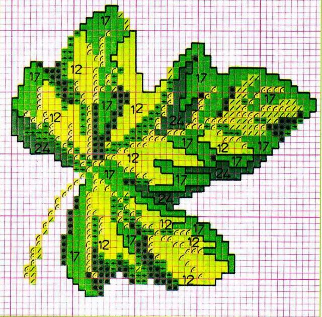 Схема вышивания крестом - Листик