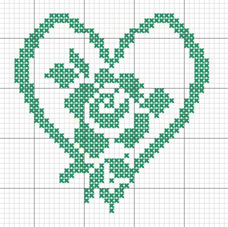 Схема вышивания крестом - Орнамент роза в сердечке
