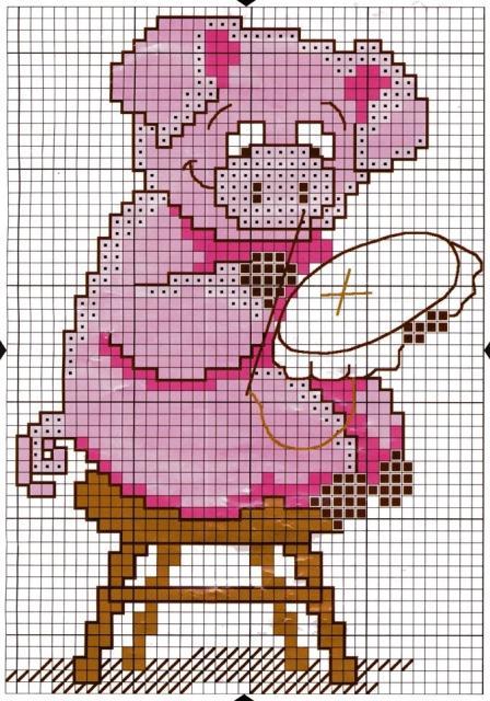 Схема вышивания крестом - Хрюшка-вышивальщица