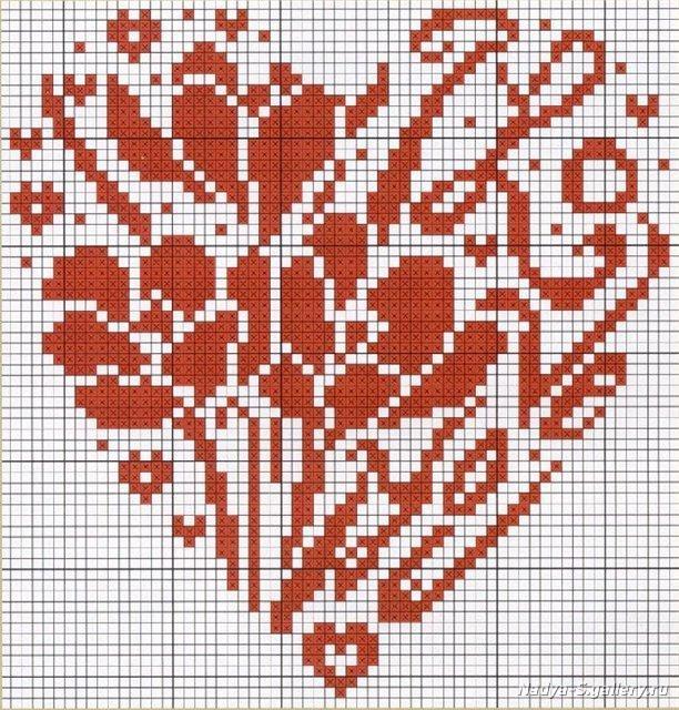 Схема вышивания крестом - Сердце из цветов