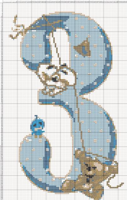 Схема вышивания крестом - Цифра Три