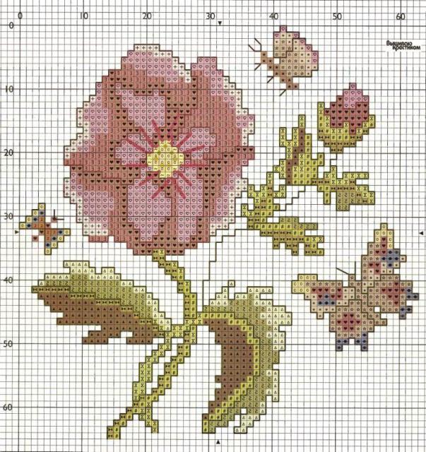 Схема вышивания крестом - Цветок с бабочкой