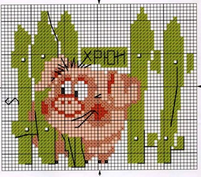 Схема вышивания крестом - Хрюшка