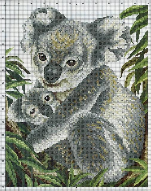 Схема вышивания крестом - Мишка Коала