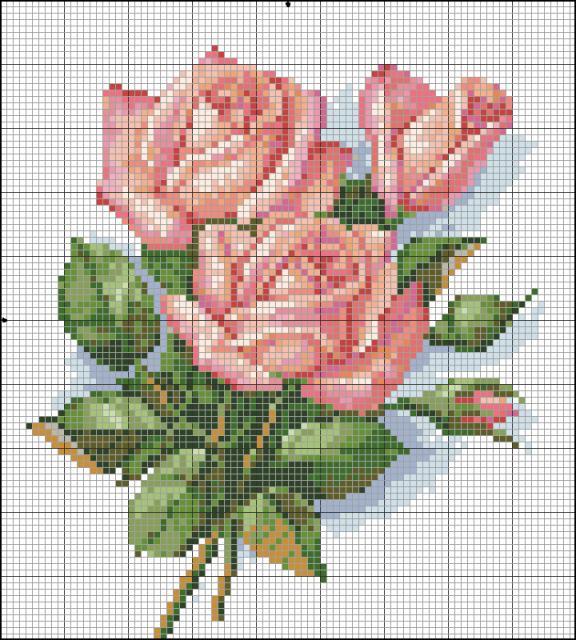 Схема для вышивание крестом - Розы