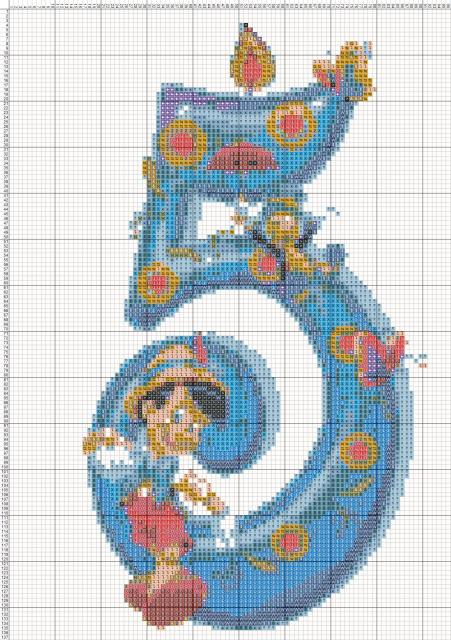 Схема вышивания крестом - Цифра Пять