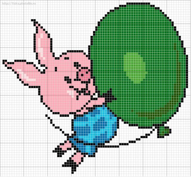 Схема для вышивание крестом - Пяточек и шарик