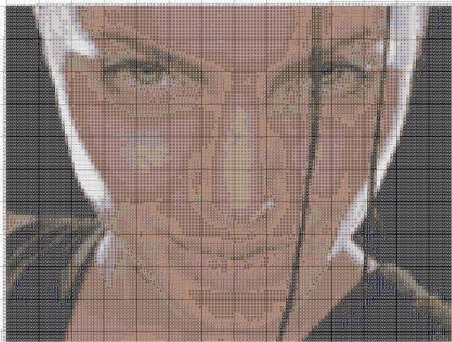 Схема вышивания крестом - Анджелина Джоли