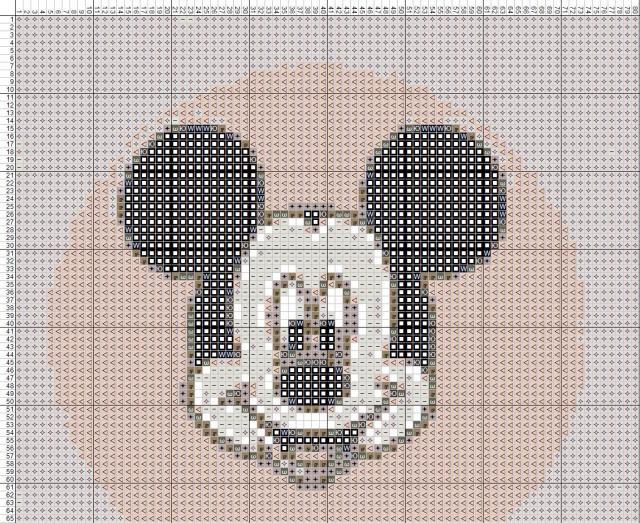 Схема вышивания крестом - Микки Маус