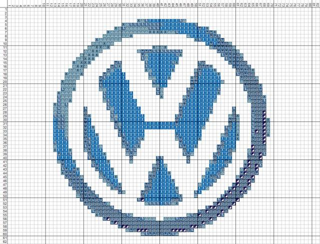 Схема вышивания крестом - Volkswagen