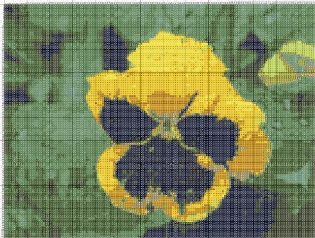 Схема вышивания крестом - Анютины глазки