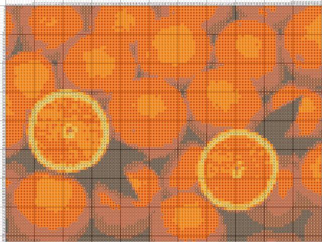 Схема вышивания крестом - Апельсины