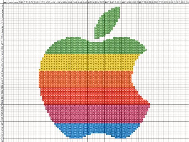 Схема вышивания крестом - Логотип Apple