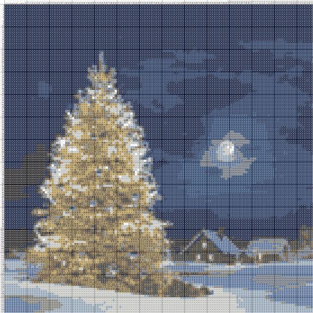 Схема вышивания крестом - Новогодняя ёлка