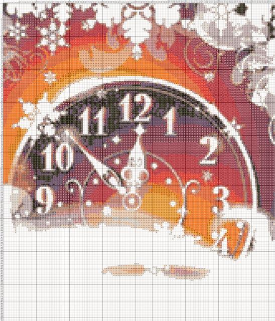 Схема вышивания крестом - Новогодние часы