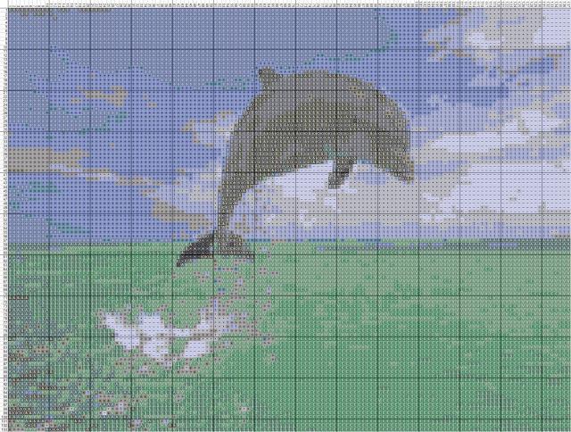 Схема вышивания крестом - Дельфин