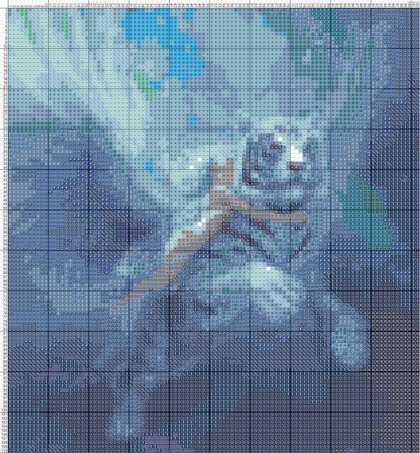 Схема вышивания крестом - Летающий тигр