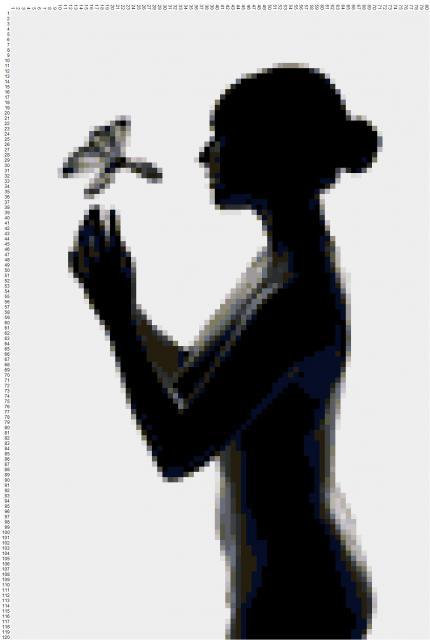 Схема вышивания крестом - Девушка с бабочкой