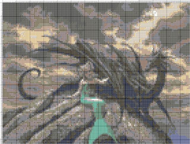 Схема вышивания крестом - Дракон и Русалка