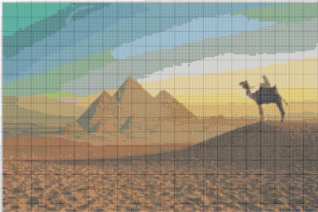 Схема вышивания крестом - Пирамиды в Египте