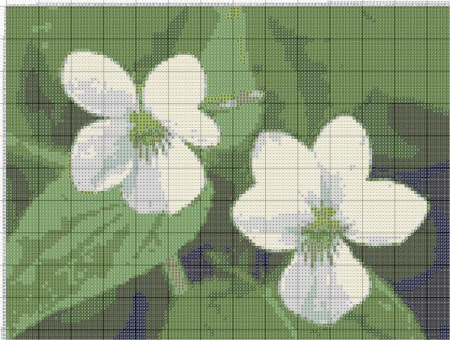 Схема вышивания крестом - Фиалки