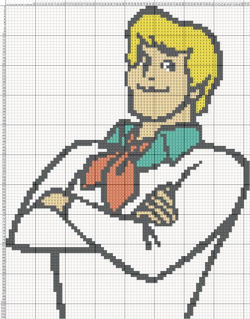 Схема вышивания крестом - Фред. Скуби-Ду