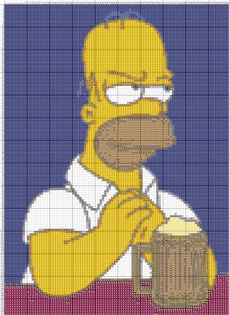 Схема вышивания крестом - Гомер Симпсон