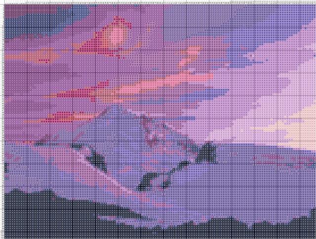 Схема вышивания крестом - Горы