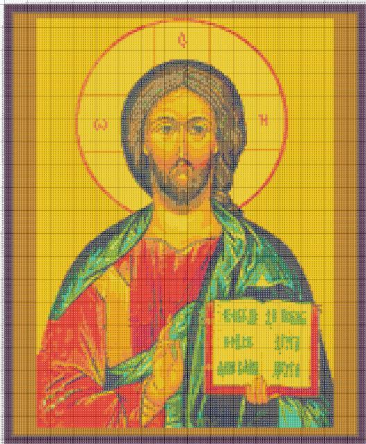 Схема вышивания крестом - Икона - Господь Вседержитель