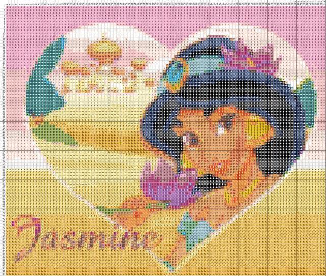 Схема вышивания крестом - Принцесса Жасмин.