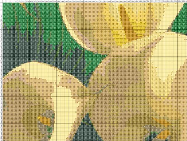 Схема вышивания крестом - Каллы