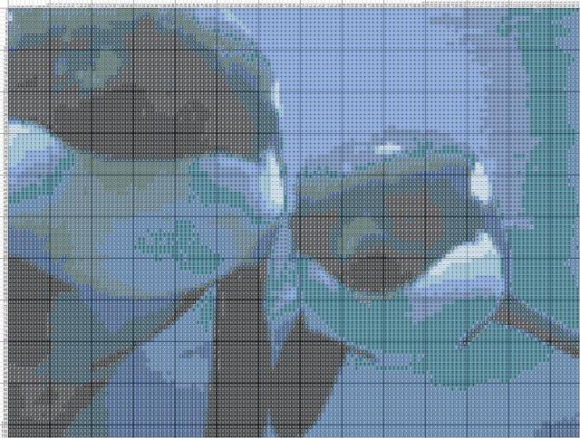 Схема вышивания крестом - Касатки