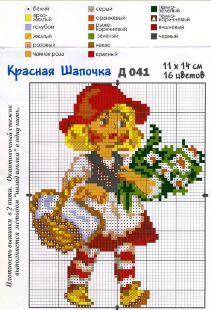 Схема вышивания крестом - Красная Шапочка