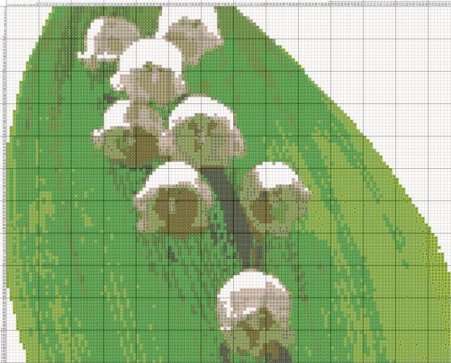 Схема вышивания крестом - Ландыши